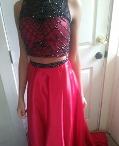 Fiery red Prom two-piece dress